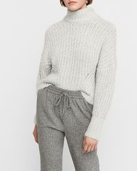 Express Cosy Cropped Mock Neck Jumper Grey - Gray