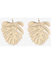 Express Palm Tree Leaf Earrings - Metallic
