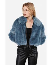 Express Negin Mirsalehi Faux Fur Bomber Jacket Blue Xs