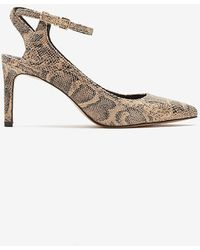 Express Snakeskin Textured Open Back Pointed Toe Pump Neutral Print - White