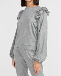 Express Metallic Ruffle Sleeve Crew Neck Sweatshirt Heather Grey