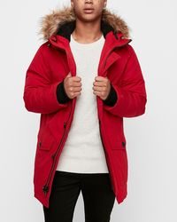 Express Sherpa Lined Removable Faux Fur Hood Parka Red