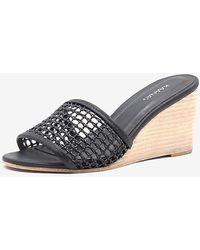 Express Kaanas Pipa Braided Wedge Sandals Black 11