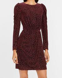Express Velvet Leopard Puff Sleeve Dress Merlot - Red