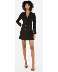 Express - Double Breasted Belted Suit Dress Black - Lyst