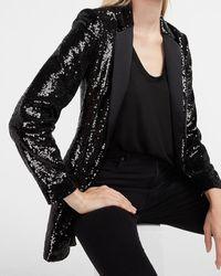 Express Sequin One Button Oversized Boyfriend Blazer Pitch Black