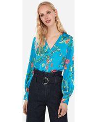 Express Satin Floral Button Front Blouson Sleeve Chelsea Popover Blue Print