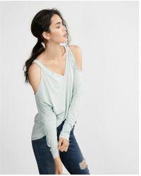 Express - Rnout Cold Shoulder V-neck Tee - Lyst