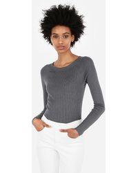 Express Ribbed Bateau Neck Sweater Grey S