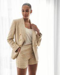 Express High Waisted Metallic Tweed Shorts Gold