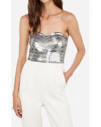Express Embellished Rhinestone Sequin Bodice Strapless Sweetheart Jumpsuit White