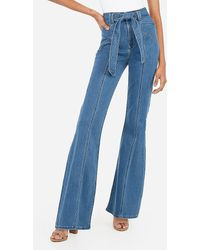 Express Super High Waisted Seamed Dark Wash Bell Bottom Flare Jeans, Size:4 Short - Blue