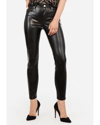 Express High Waisted Faux Leather Ankle Leggings Black 4 Short