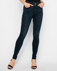 Express High Waisted Denim Perfect Curves Dark Wash Skinny Jeans, Size:00 Long - Blue