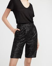 Express High Waisted Sequin Bermuda Shorts Pitch Black