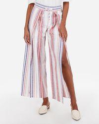 Express - High Waisted Stripe Linen-blend Split Leg Pant Stripe - Lyst