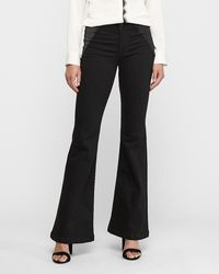 Express Mid Rise Denim Perfect Black Sparkle Bell Bottom Flare Jeans,