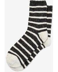 Express Striped Cap Toe Bootie Socks Ivory - White
