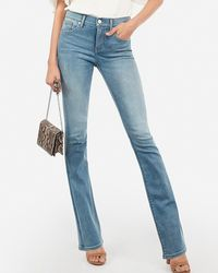 Express Mid Rise Denim Perfect Light Wash Barely Boot Jeans, - Blue