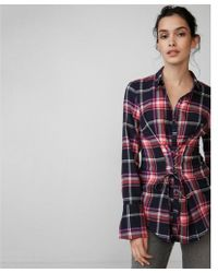 Express - Corset Front Cotton Flannel Shirt - Lyst