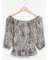 Express Animal Print Pleated Off The Shoulder Top Grey Print - Multicolour