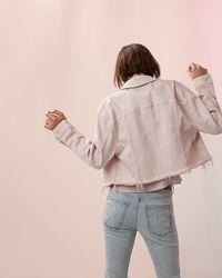 Express Ripped Cropped Denim Boyfriend Jacket Vintage Pink