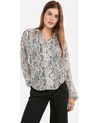 Express Snakeskin Print Ruffle Collar Shirt Grey Print - Gray