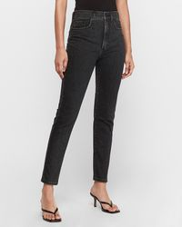 Express Super High Waisted Original Black Slim Ankle Jeans, Size:00