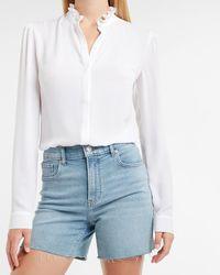 Express Ruffle Collar Portofino Shirt White