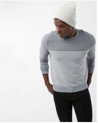 Express - Texture Blocked Crew Neck Cotton Sweater - Lyst