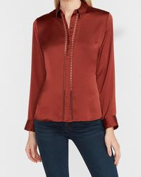 Express Satin Lace Trim Portofino Shirt Deep Henna - Red