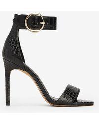 Express Crocodile Texture Heeled Sandals Black 6