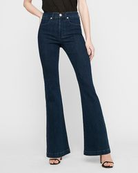 Express High Waisted Dark Wash Flare Jeans - Blue