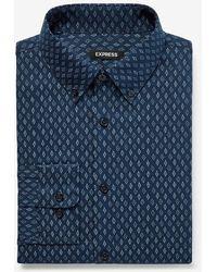Express Slim Geo Print Wrinkle-resistant Performance Dress Shirt Blue M Tall