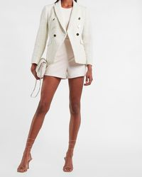 Express Double Breasted Tweed Cropped Business Blazer Swan - Multicolour
