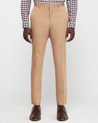 Express Slim Camel Cotton-blend Stretch Suit Pants - Natural