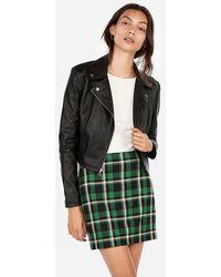 Express High Waisted Plaid A-line Mini Skirt Neutral Plaid - Multicolour