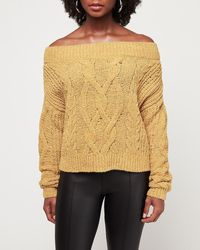 Express Cosy Chenille Off The Shoulder Cable Knit Jumper Yellow S