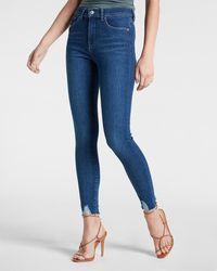 Express High Waisted Medium Wash Ripped Hem Skinny Jeans, Size:2 - Blue