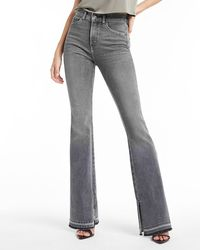 Express High Waisted Grey Side Slit Raw Released Hem Flare Jeans