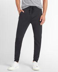 Express Solid Zip Pockets Knit Sweatpants - Black