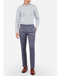 Express Big & Tall Extra Slim Blue Cotton Texture Stretch Suit Pants Blue W40 L34
