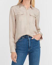 Express Button-up Military Shirt Neutral Xxs - Multicolour