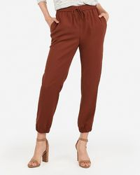 Express Mid Rise Drawstring Utility Joggers Brown