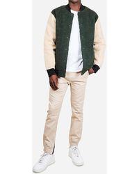 Express Brooklyn Cloth Olive Sherpa Varsity Jacket Green