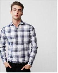 Express - Extra Slim Plaid Cotton Dress Shirt - Lyst