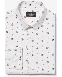 Express Slim Floral Wrinkle-resistant Performance Dress Shirt White Xs