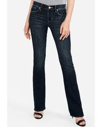 Express Mid Rise Dark Wash Barely Boot Jeans, Size:00 Petite - Blue