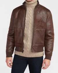Express Brown Faux Leather Sherpa Lined Bomber Jacket Brown Xs
