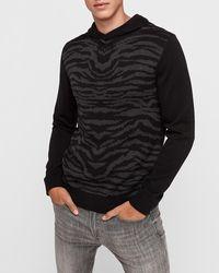 Express Zebra Block Hooded Sweater Black
